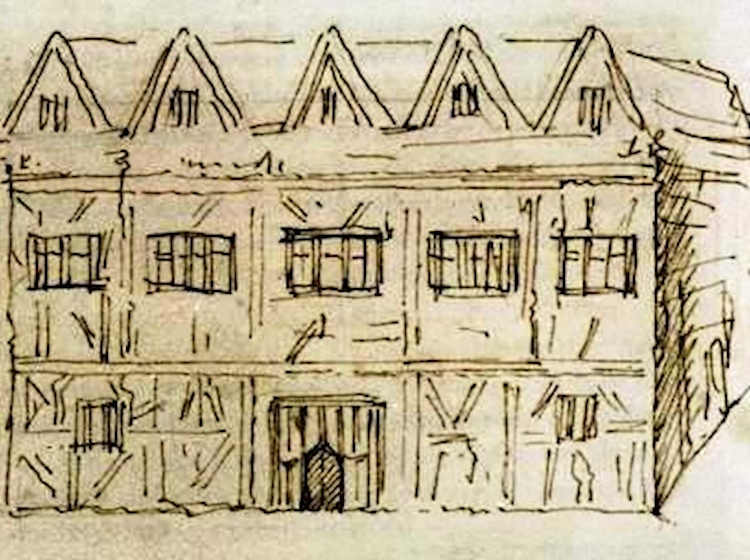 early_drawing_of_shakespeares_home_in_stratford