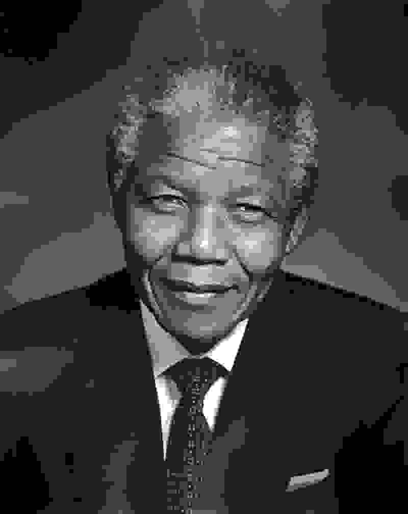 a_black_and_white_photograph_of_nelson_mandela