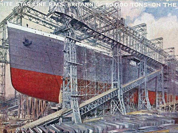 postcard_showing_britannic_in_the_shipyard_before_launch