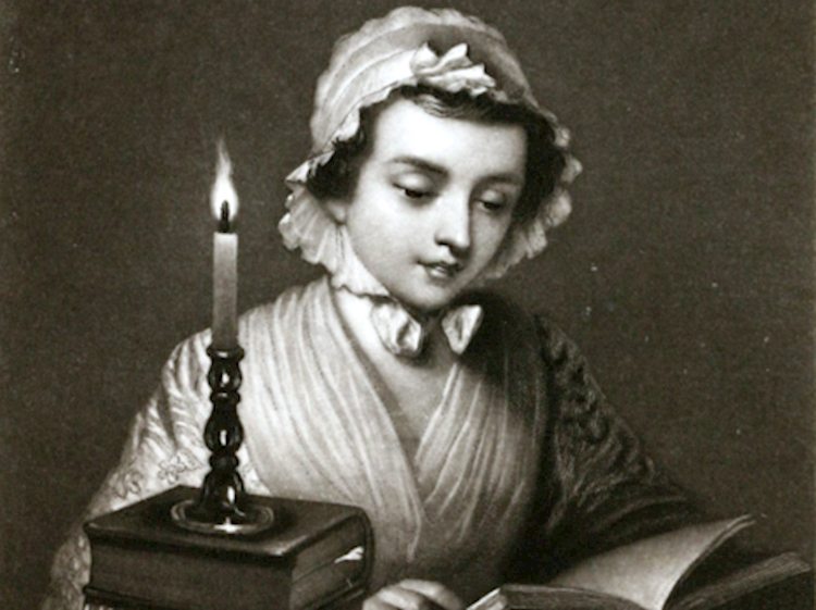engraving_of_a_woman_reading_by_candlelight_by_john_sartain_1854