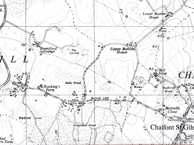 map_showing_gore_hill_bottrells_lane_and_environs_from_1965_ordnance_survey_map