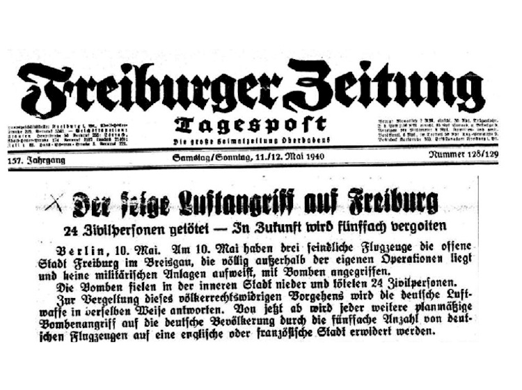 german_newspaper_freiburger_zeitung_headline_bombing_11_12_may_1940