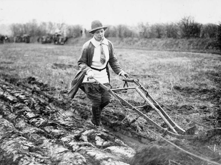 agriculture_in_britain_during_the_first_world_war_womens_land_army_member_operating_plough