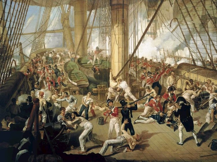 nelson_is_shot_on_the_quarterdeck_painted_by_denis_dighton