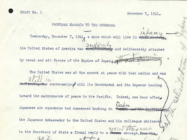 message_to_congress_draft_pearl_harbor