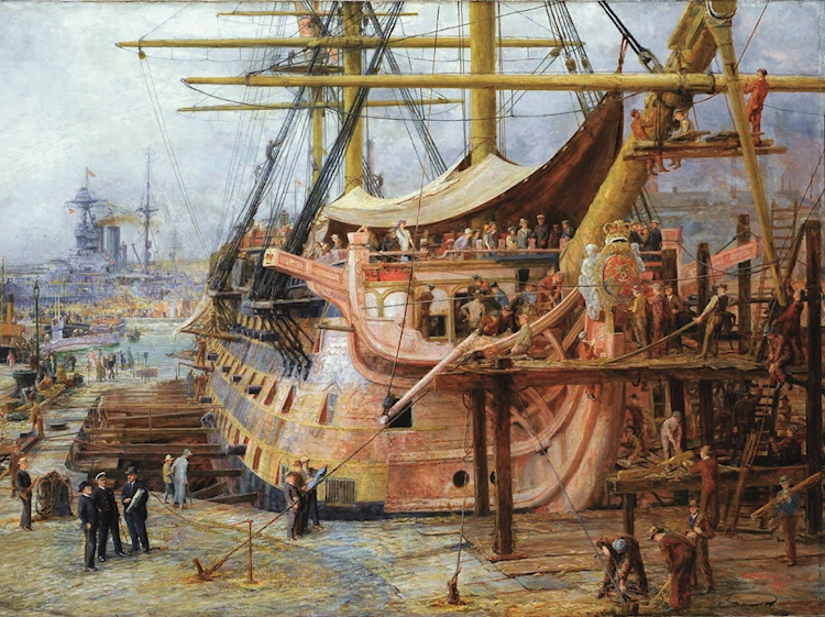restoring_hms_victory_by_william_lionel_wyllie