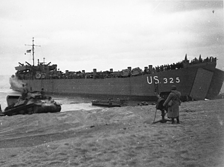 landing_ship_during_a_training_exercise_on_slapton_sands_in_1944jpg