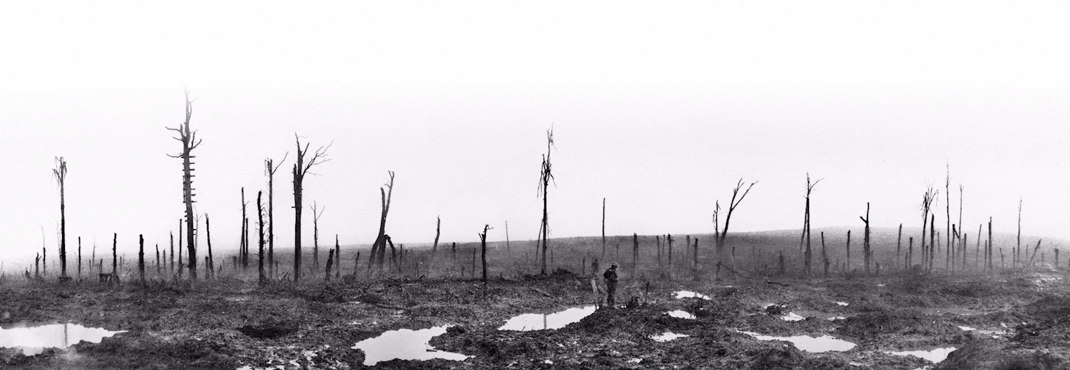 an_eerily_atmospheric_shot_of_a_lone_-british-_soldier_stood_in_the_shot-out-_devastated_landscape_of_passchendaele_to_the_left_is_a_makeshift_ladder_up_a_tree_that_had_been_used_as_an_observation_point