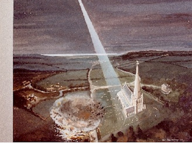artists_impression_of_zeppelin_air_raid_on_snettisham_church_19_january_1915