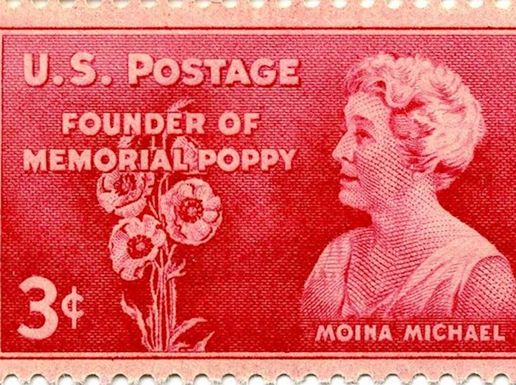 stamp_commemorating_moina_michael_founder_of_us_memorial_poppy