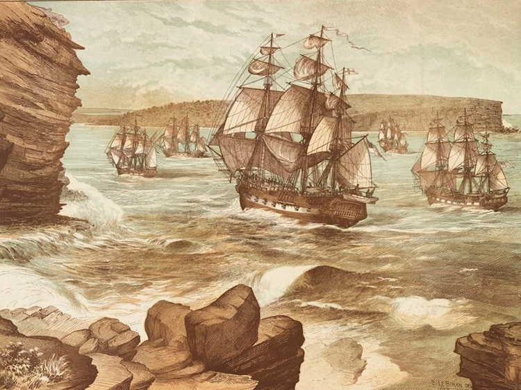 the_first_fleet_entering_port_jackson_january_26_1788_drawn_1888_a9333001