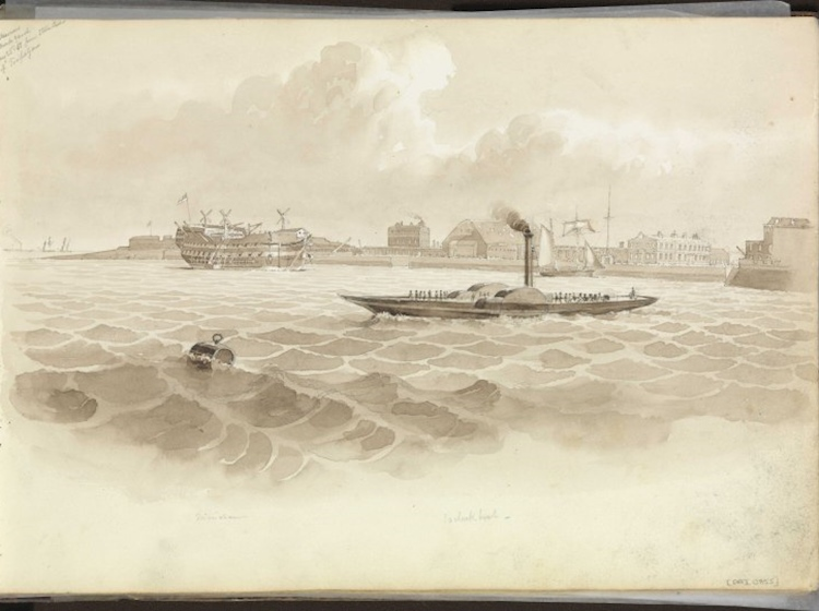 northern_part_of_rebuilt_sheerness_dockyards_seen_from_river_1850