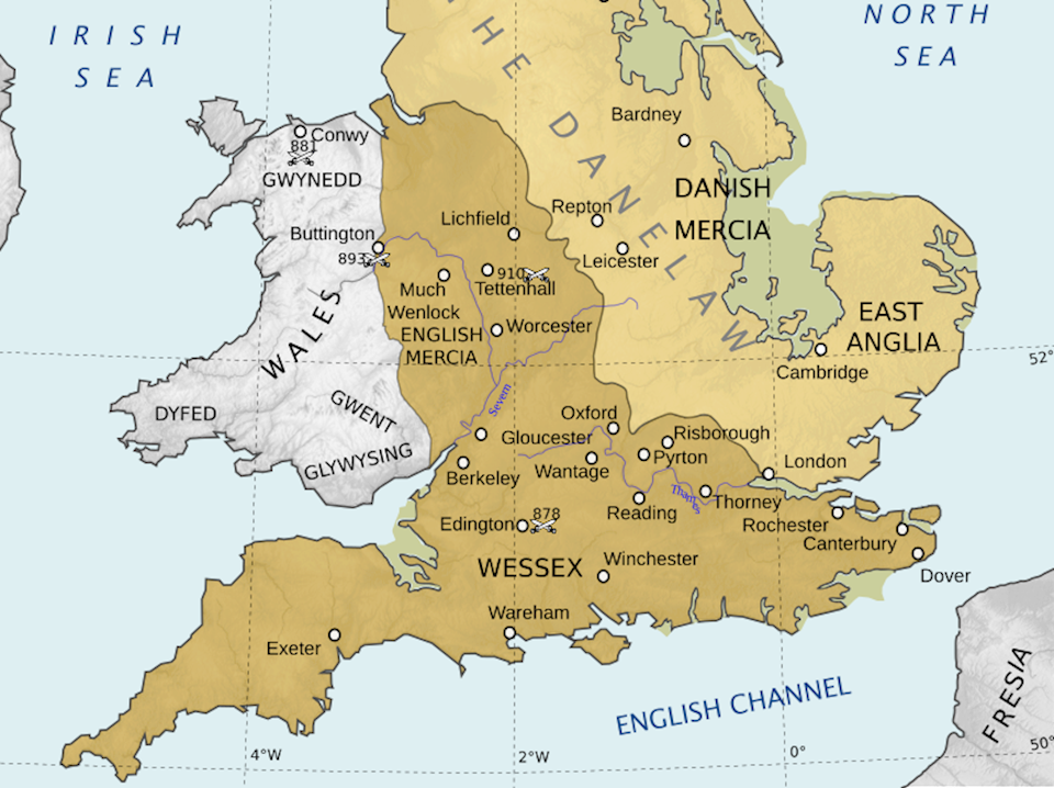 Map Of England 800.The History Press Aethelflaed In Nine Places
