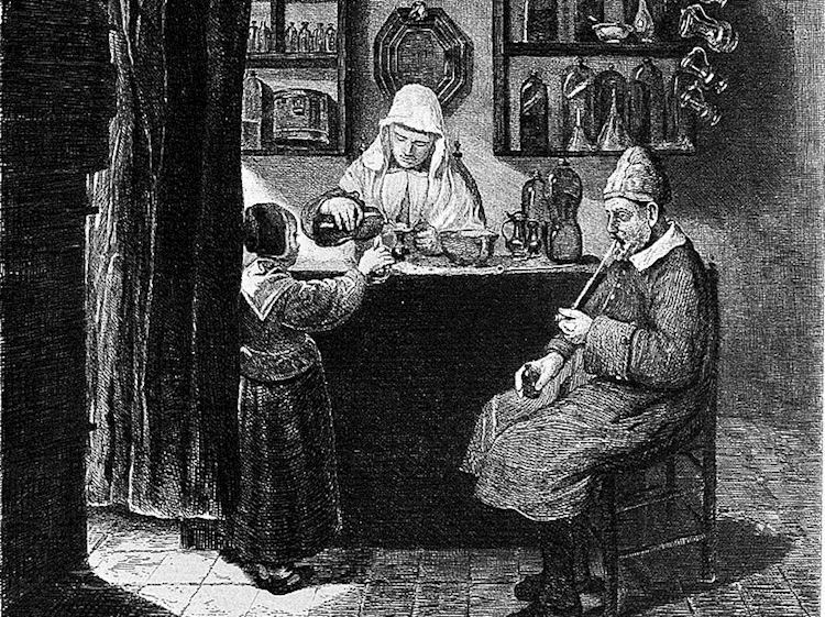 a_female_apothecary_mixing_up_a_prescription_for_a_child_et_wellcome_l0002919