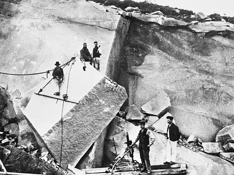 tillyfourie_quarry_c1879_-showing_-an_-early_-pneumatic_-rock_drill