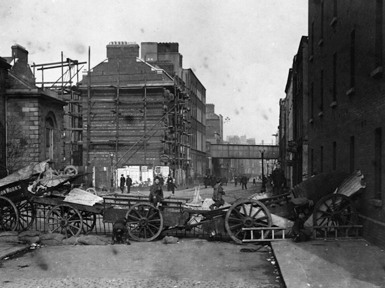 a_street_barricade_erected_by_the_rebels_in_dublin_during_the_rising